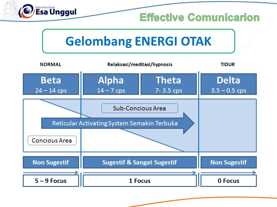 Beta 24 – 14 cps Alpha 14 – 7 cps Theta 7- 3.5 cps Delta 3.5 – 0.5 cps Non SugestifSugestif & Sangat SugestifNon Sugestif Reticular Activating System