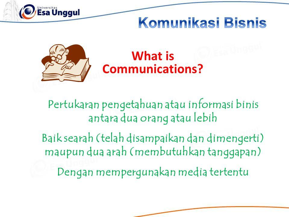 Pertukaran pengetahuan atau informasi binis antara dua orang atau lebih Baik searah (telah disampaikan dan dimengerti) maupun dua arah (membutuhkan ta