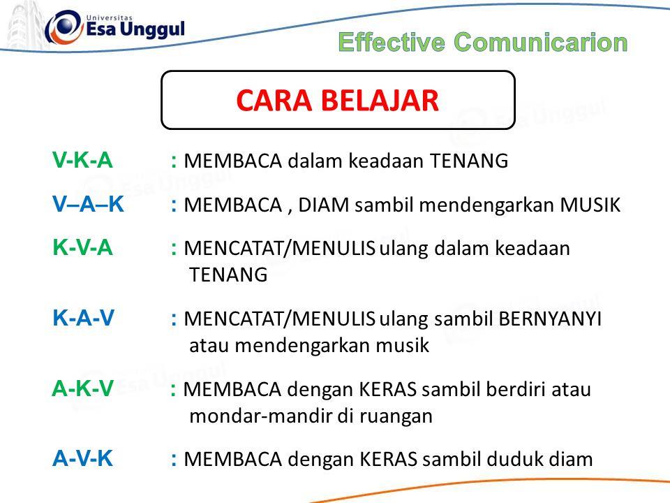 V-K-A: MEMBACA dalam keadaan TENANG V–A–K: MEMBACA, DIAM sambil mendengarkan MUSIK K-V-A: MENCATAT/MENULIS ulang dalam keadaan TENANG K-A-V: MENCATAT/