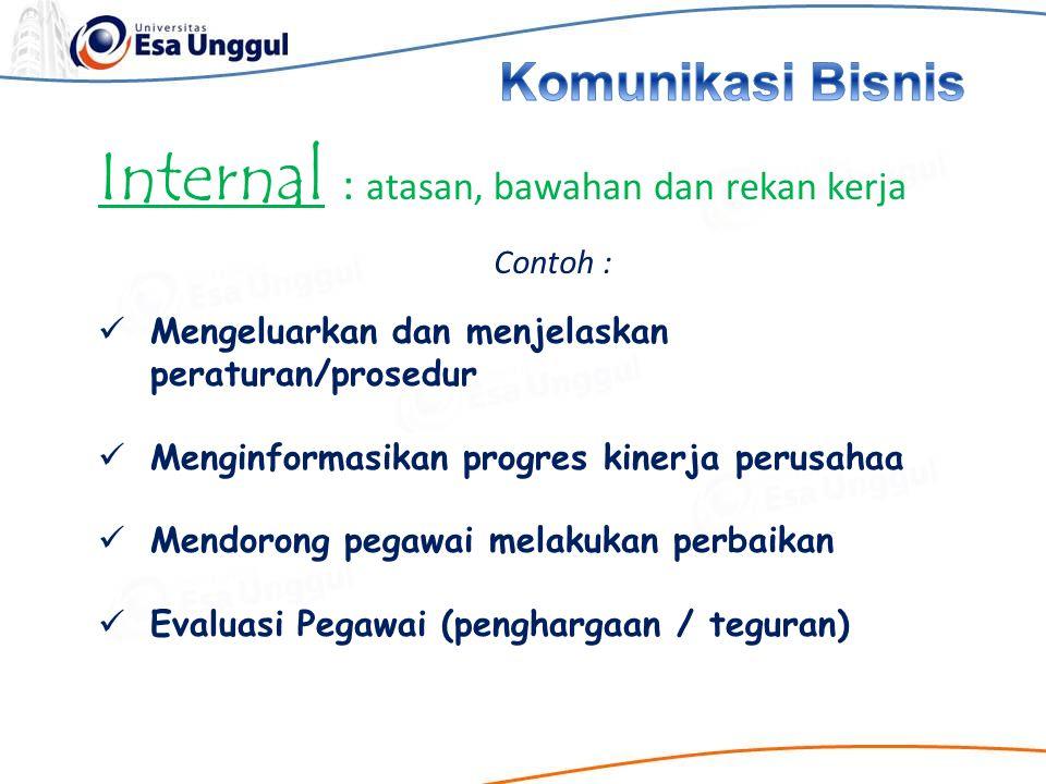 Internal : atasan, bawahan dan rekan kerja Contoh : Mengeluarkan dan menjelaskan peraturan/prosedur Menginformasikan progres kinerja perusahaa Mendoro