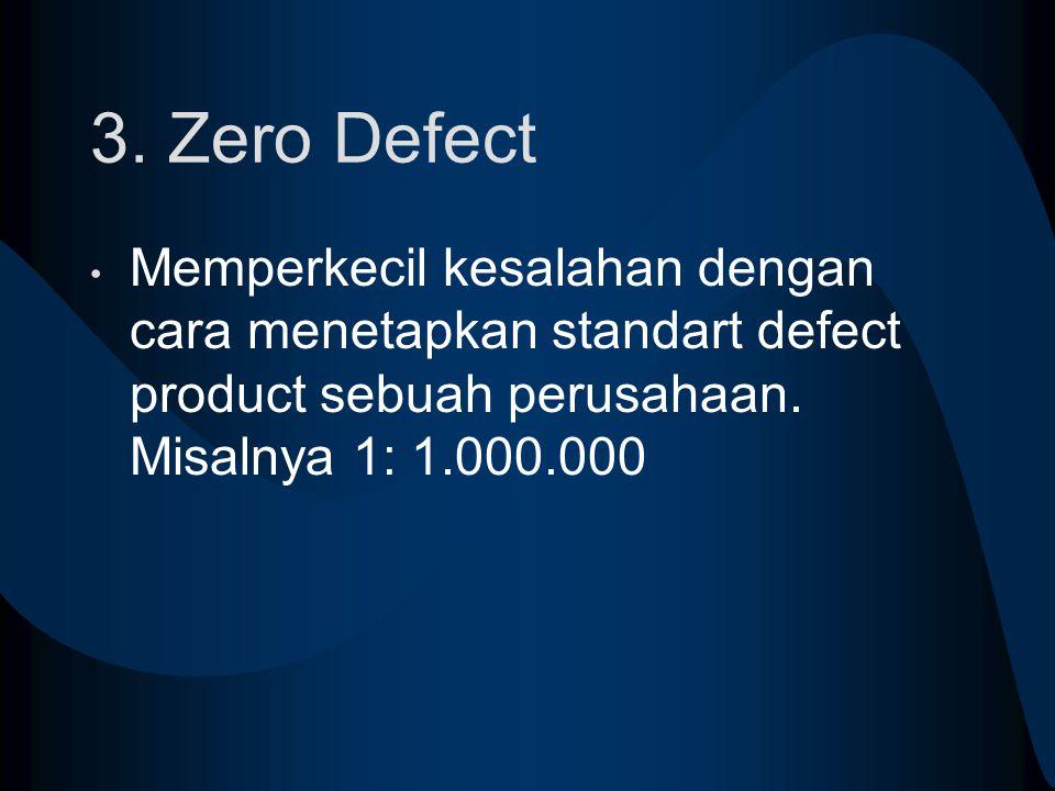 3. Zero Defect Memperkecil kesalahan dengan cara menetapkan standart defect product sebuah perusahaan. Misalnya 1: 1.000.000
