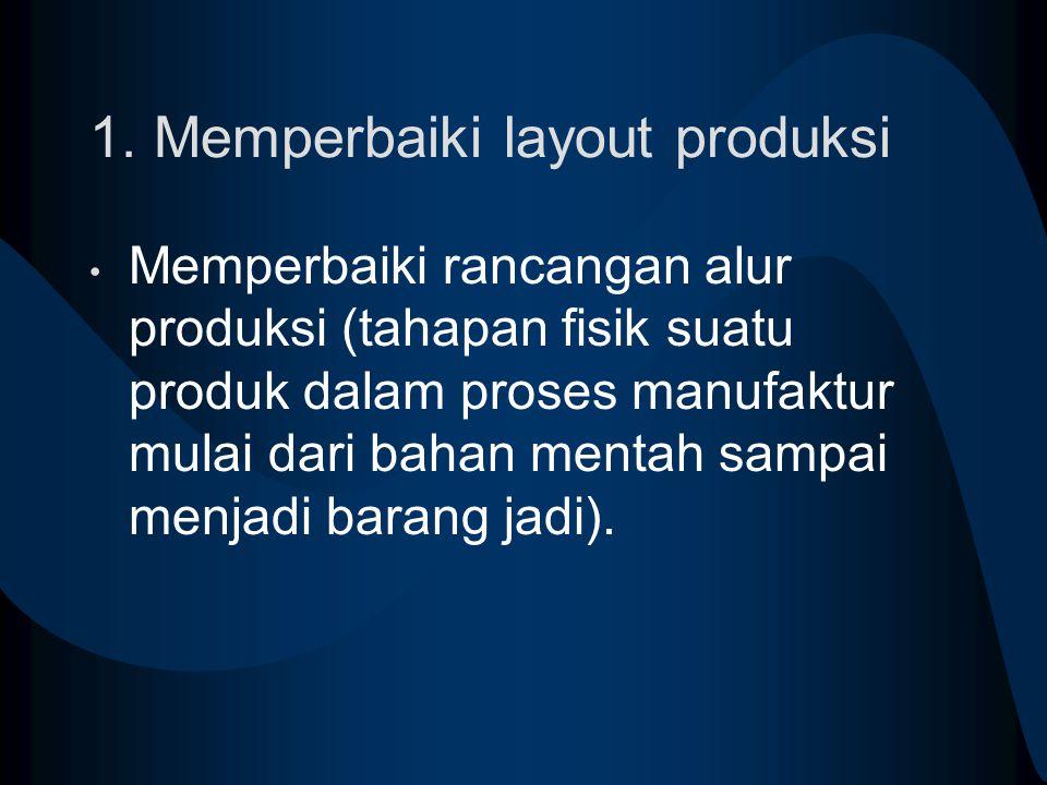 1. Memperbaiki layout produksi Memperbaiki rancangan alur produksi (tahapan fisik suatu produk dalam proses manufaktur mulai dari bahan mentah sampai