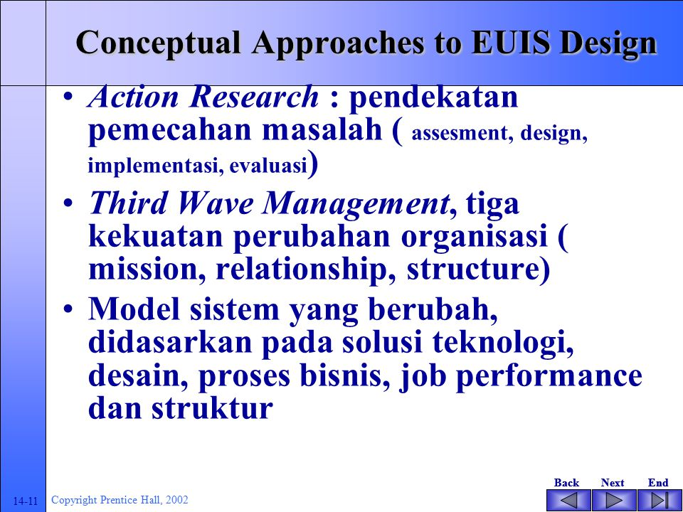 BackNextEndBackNextEnd 14-10 Copyright Prentice Hall, 2002 Conceptual Approaches to EUIS Design General System teory : definsis sistem, tingkatan sistem, organisasi sistem Teori Koordinasi : bagaimana tiap aktor mengerjakan aktifitasnya sendiri untuk mencapai sasaran bersama Action Research
