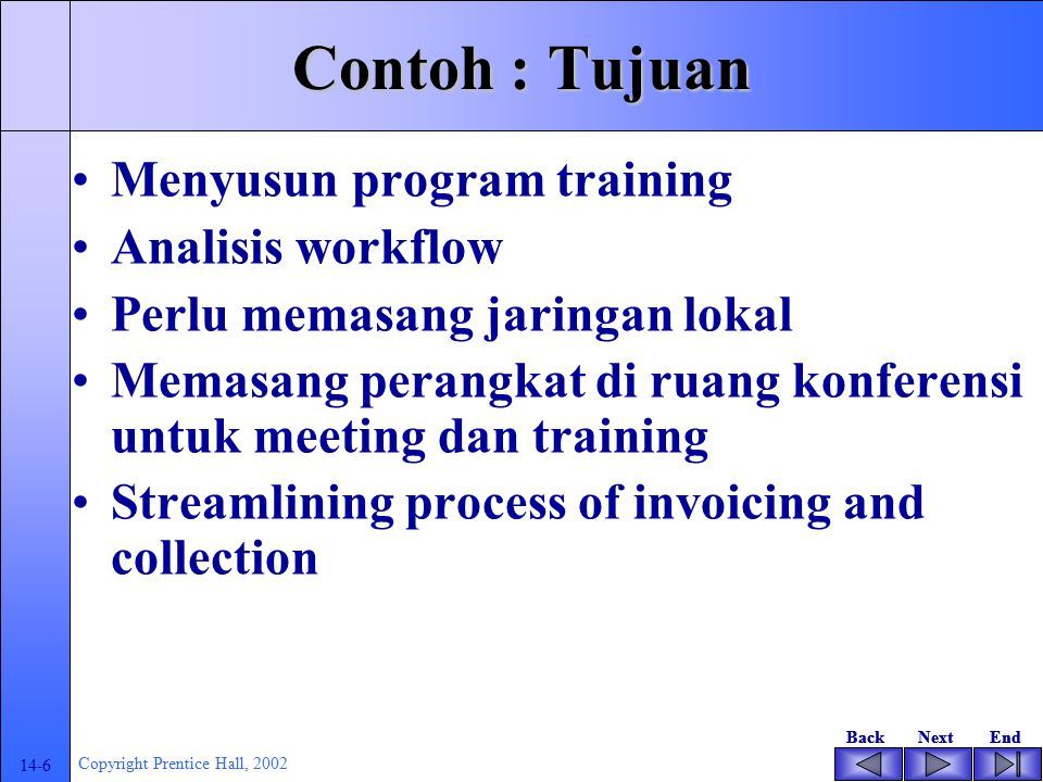 BackNextEndBackNextEnd 14-6 Copyright Prentice Hall, 2002 Contoh : Tujuan Menyusun program training Analisis workflow Perlu memasang jaringan lokal Memasang perangkat di ruang konferensi untuk meeting dan training Streamlining process of invoicing and collection
