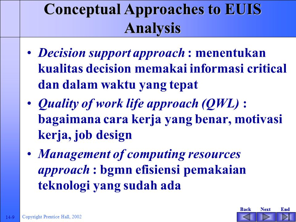 BackNextEndBackNextEnd 14-8 Copyright Prentice Hall, 2002 Conceptual Approaches to EUIS Analysis Organizational communications approach : bagaimana in