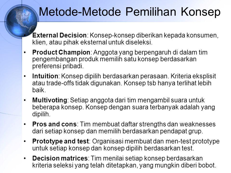Metode-Metode Pemilihan Konsep External Decision: Konsep-konsep diberikan kepada konsumen, klien, atau pihak eksternal untuk diseleksi.
