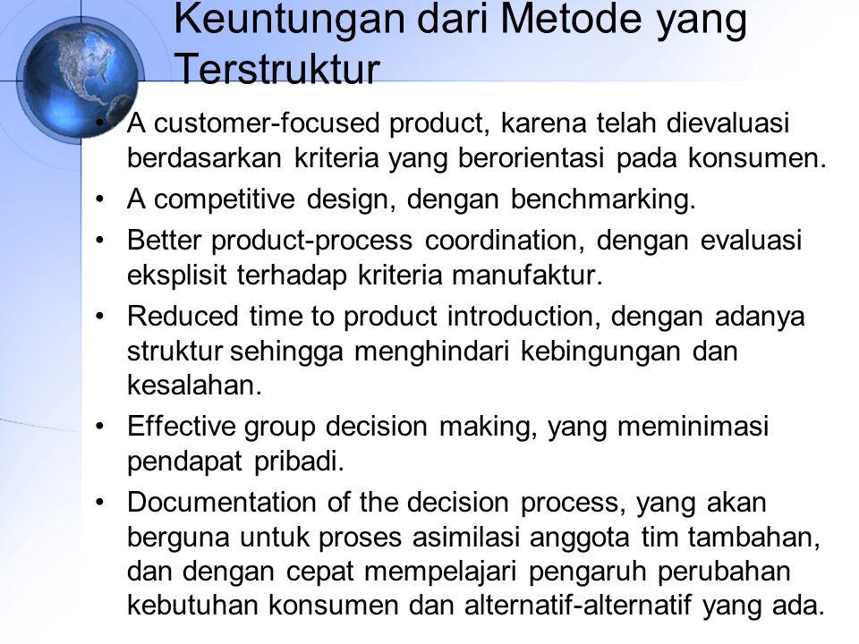 Keuntungan dari Metode yang Terstruktur A customer-focused product, karena telah dievaluasi berdasarkan kriteria yang berorientasi pada konsumen.