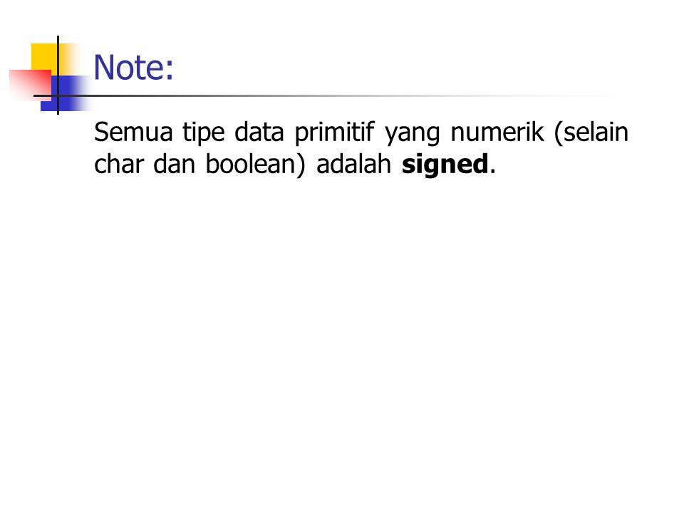 Note: Semua tipe data primitif yang numerik (selain char dan boolean) adalah signed.