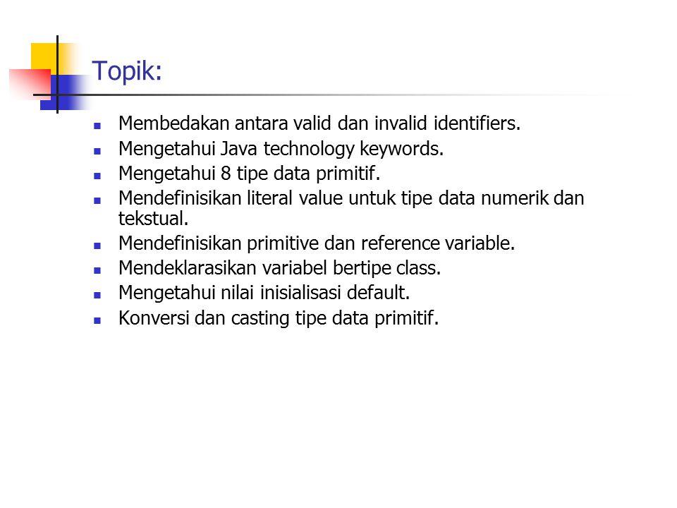 Topik: Membedakan antara valid dan invalid identifiers. Mengetahui Java technology keywords. Mengetahui 8 tipe data primitif. Mendefinisikan literal v