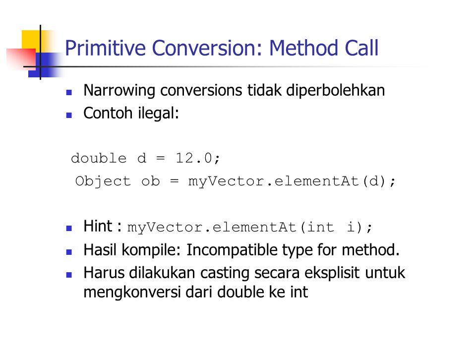 Primitive Conversion: Method Call Narrowing conversions tidak diperbolehkan Contoh ilegal: double d = 12.0; Object ob = myVector.elementAt(d); Hint :
