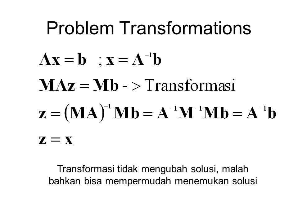 Problem Transformations Transformasi tidak mengubah solusi, malah bahkan bisa mempermudah menemukan solusi