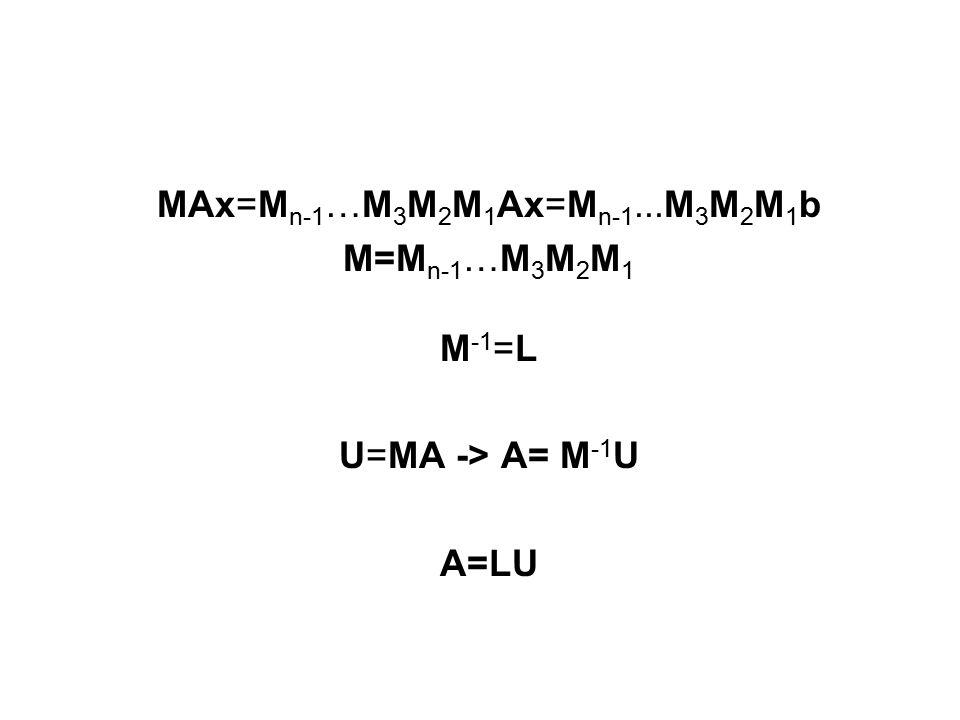 MAx=M n-1 …M 3 M 2 M 1 Ax=M n-1...M 3 M 2 M 1 b M=M n-1 …M 3 M 2 M 1 M -1 =L U=MA -> A= M -1 U A=LU