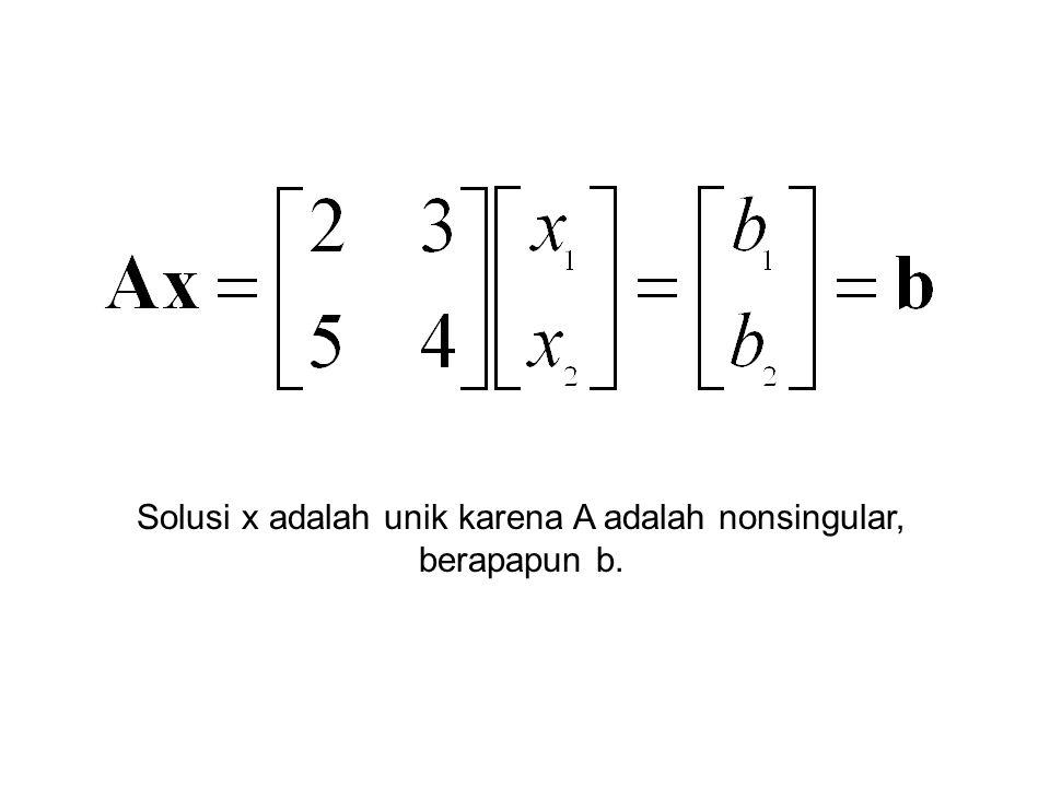 Solusi x adalah unik karena A adalah nonsingular, berapapun b.