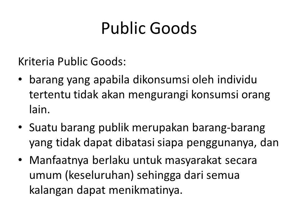 Public Goods Kriteria Public Goods: barang yang apabila dikonsumsi oleh individu tertentu tidak akan mengurangi konsumsi orang lain.