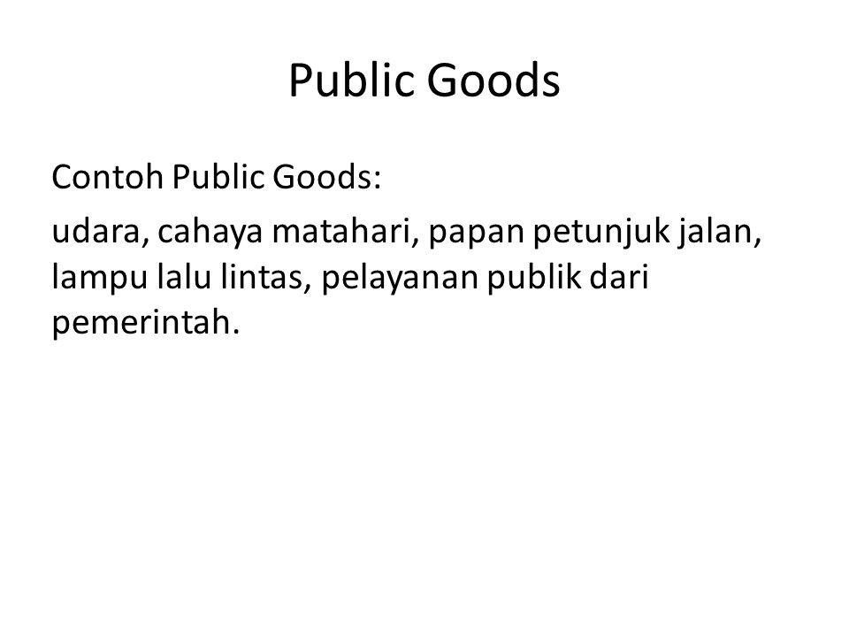Public Goods Contoh Public Goods: udara, cahaya matahari, papan petunjuk jalan, lampu lalu lintas, pelayanan publik dari pemerintah.