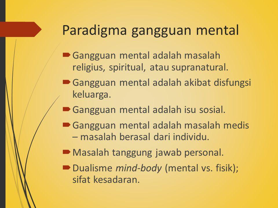 Paradigma gangguan mental  Gangguan mental adalah masalah religius, spiritual, atau supranatural.