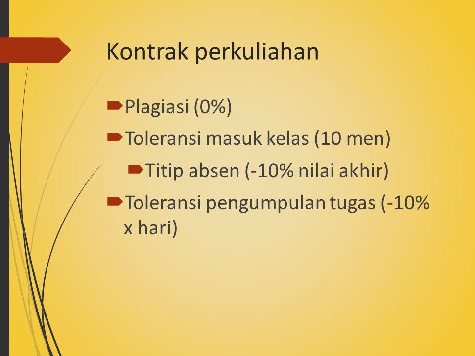 Kontrak perkuliahan  Plagiasi (0%)  Toleransi masuk kelas (10 men)  Titip absen (-10% nilai akhir)  Toleransi pengumpulan tugas (-10% x hari)