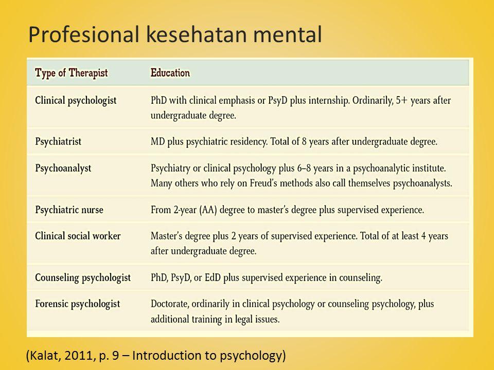 (Kalat, 2011, p. 9 – Introduction to psychology) Profesional kesehatan mental