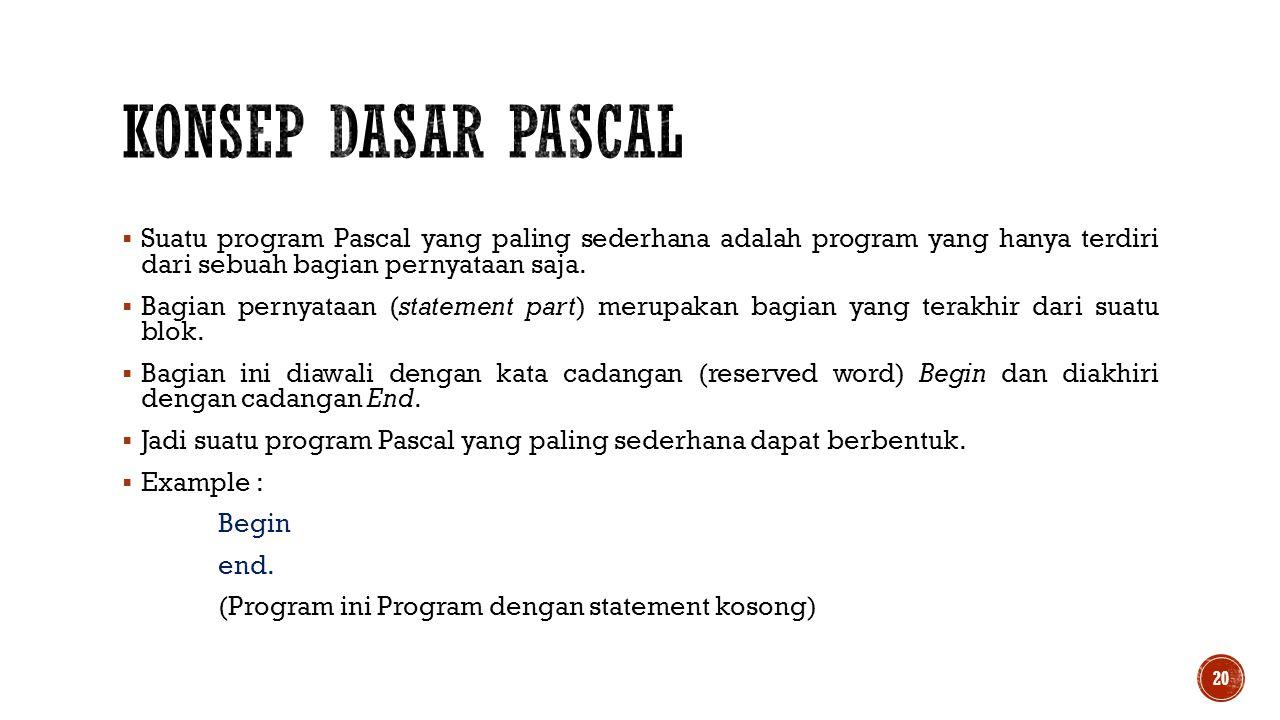  Suatu program Pascal yang paling sederhana adalah program yang hanya terdiri dari sebuah bagian pernyataan saja.  Bagian pernyataan (statement part