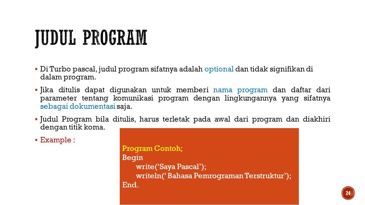  Di Turbo pascal, judul program sifatnya adalah optional dan tidak signifikan di dalam program.  Jika ditulis dapat digunakan untuk memberi nama pro