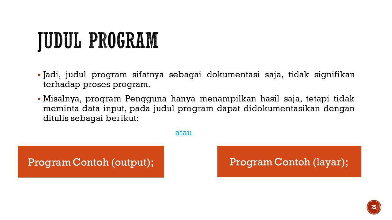  Jadi, judul program sifatnya sebagai dokumentasi saja, tidak signifikan terhadap proses program.  Misalnya, program Pengguna hanya menampilkan hasi
