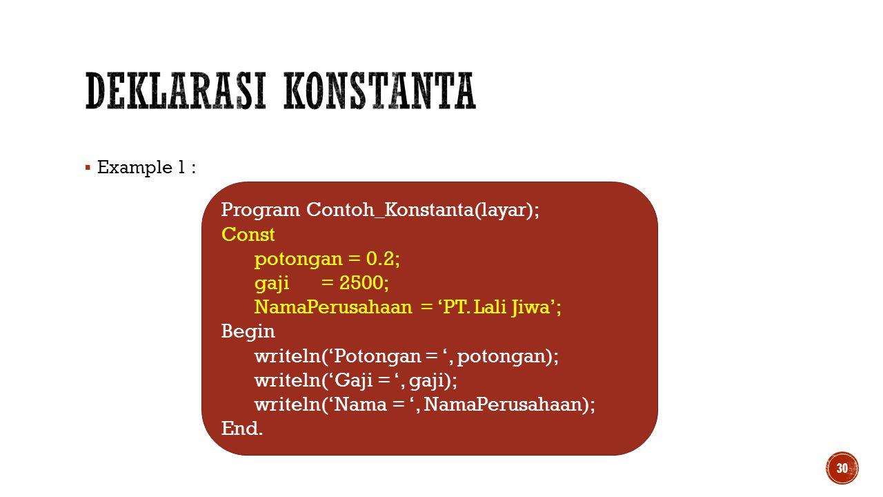  Example 1 : 30 Program Contoh_Konstanta(layar); Const potongan = 0.2; gaji= 2500; NamaPerusahaan = 'PT. Lali Jiwa'; Begin writeln('Potongan = ', pot
