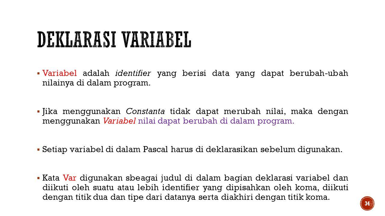  Variabel adalah identifier yang berisi data yang dapat berubah-ubah nilainya di dalam program.  Jika menggunakan Constanta tidak dapat merubah nila