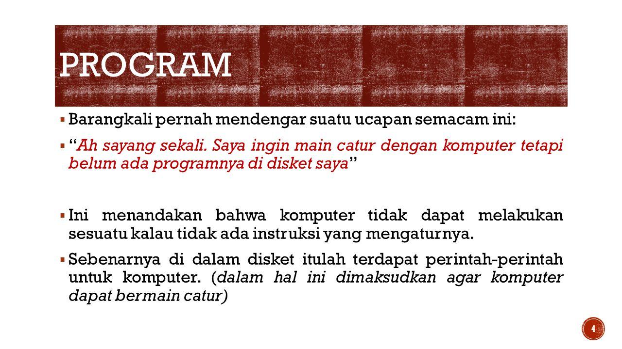  Jadi, judul program sifatnya sebagai dokumentasi saja, tidak signifikan terhadap proses program.