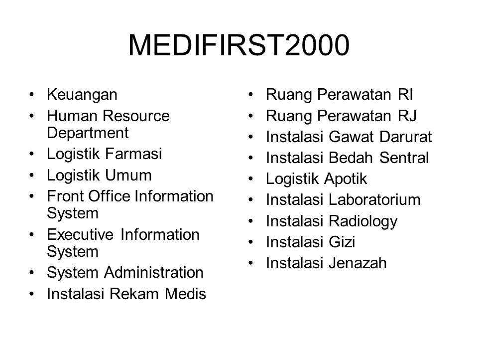 MEDIFIRST2000 Keuangan Human Resource Department Logistik Farmasi Logistik Umum Front Office Information System Executive Information System System Ad