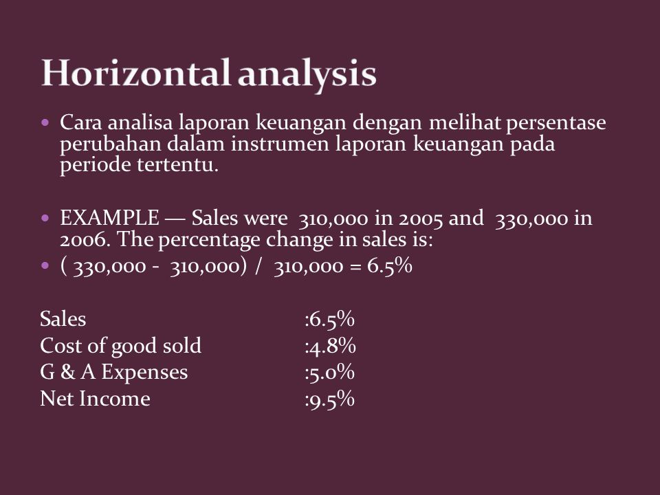 Cara analisa laporan keuangan dengan melihat persentase perubahan dalam instrumen laporan keuangan pada periode tertentu. EXAMPLE — Sales were 310,000
