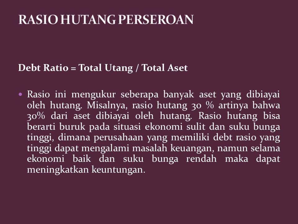 Debt Ratio = Total Utang / Total Aset Rasio ini mengukur seberapa banyak aset yang dibiayai oleh hutang. Misalnya, rasio hutang 30 % artinya bahwa 30%