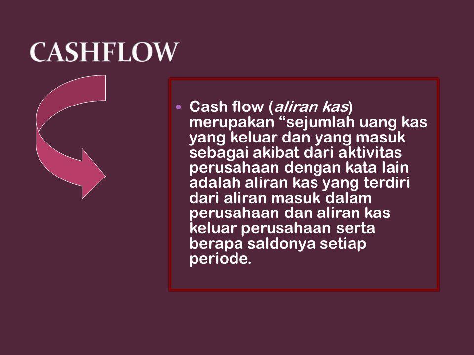 """Cash flow (aliran kas) merupakan """"sejumlah uang kas yang keluar dan yang masuk sebagai akibat dari aktivitas perusahaan dengan kata lain adalah aliran"""
