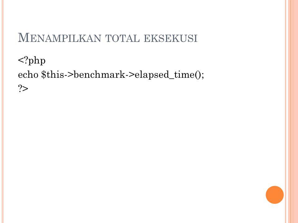 M ENAMPILKAN TOTAL EKSEKUSI < php echo $this->benchmark->elapsed_time(); >