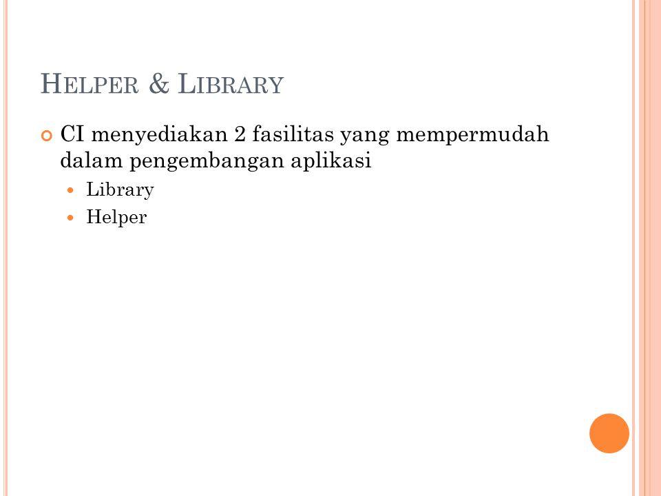 L IBRARY Library dapat dikatakan sebagai kumpulan tools yang dapat digunakan untuk membantu proses CI telah menyediakan berbagi Library yang dapat digunakan Lokasi library System/libraries Application/libraries