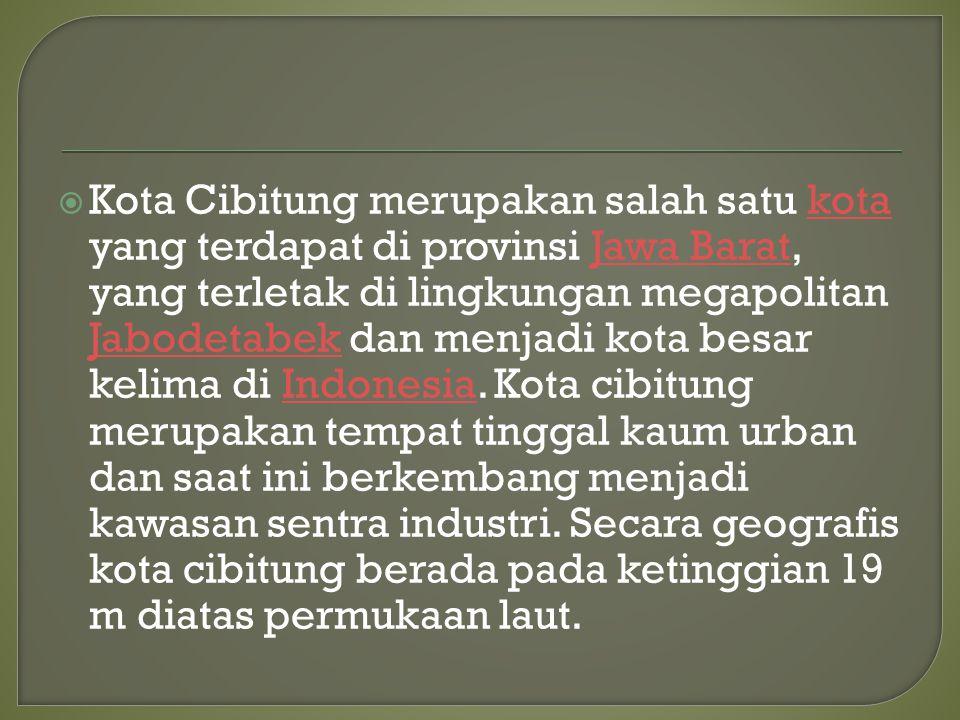  Kota Cibitung merupakan salah satu kota yang terdapat di provinsi Jawa Barat, yang terletak di lingkungan megapolitan Jabodetabek dan menjadi kota b