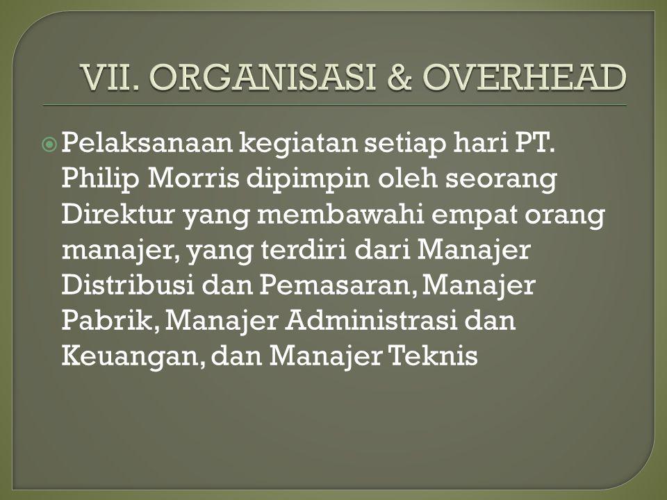  Pelaksanaan kegiatan setiap hari PT. Philip Morris dipimpin oleh seorang Direktur yang membawahi empat orang manajer, yang terdiri dari Manajer Dist