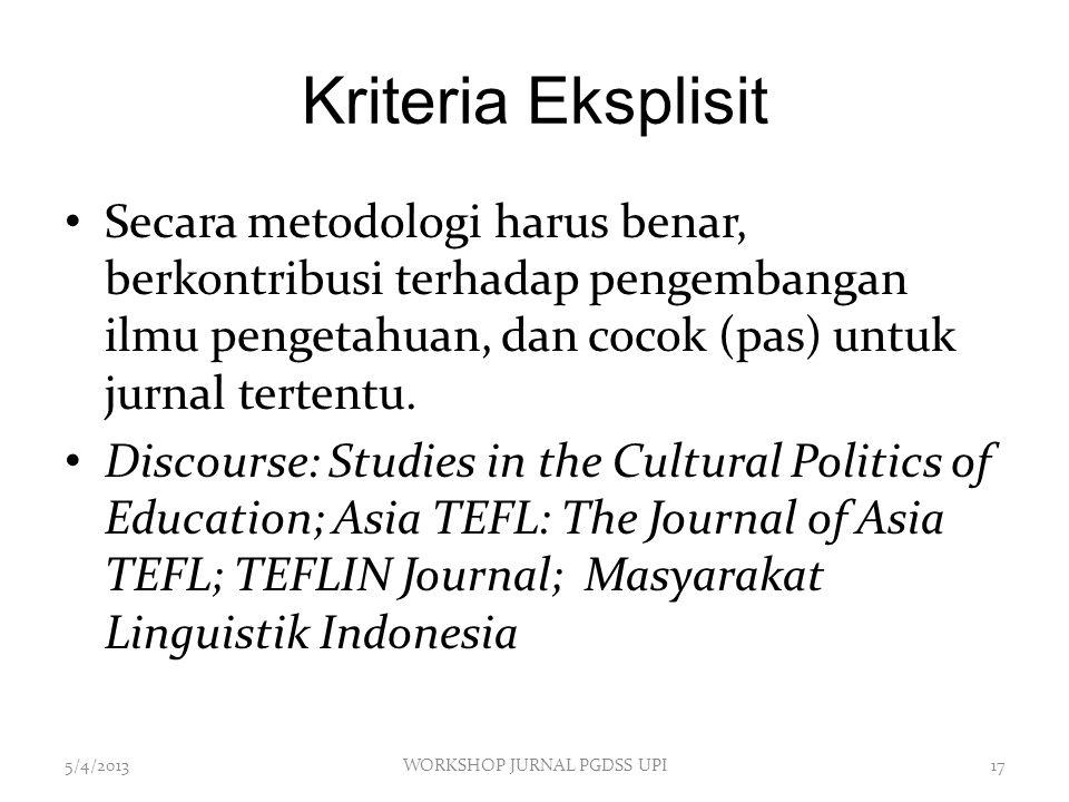 Kriteria Eksplisit Secara metodologi harus benar, berkontribusi terhadap pengembangan ilmu pengetahuan, dan cocok (pas) untuk jurnal tertentu. Discour