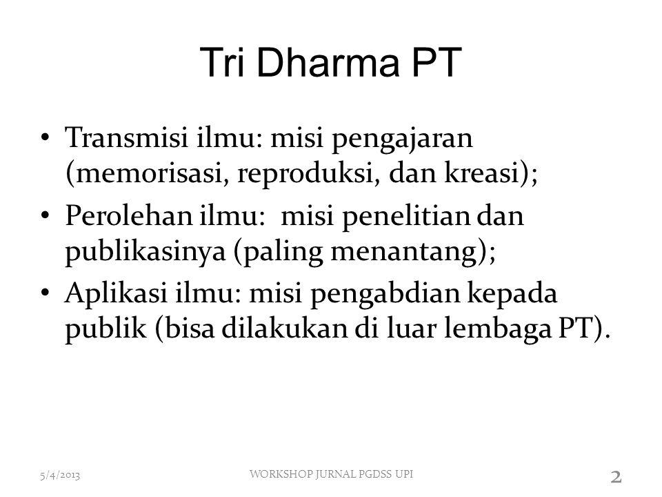 Tri Dharma PT Transmisi ilmu: misi pengajaran (memorisasi, reproduksi, dan kreasi); Perolehan ilmu: misi penelitian dan publikasinya (paling menantang