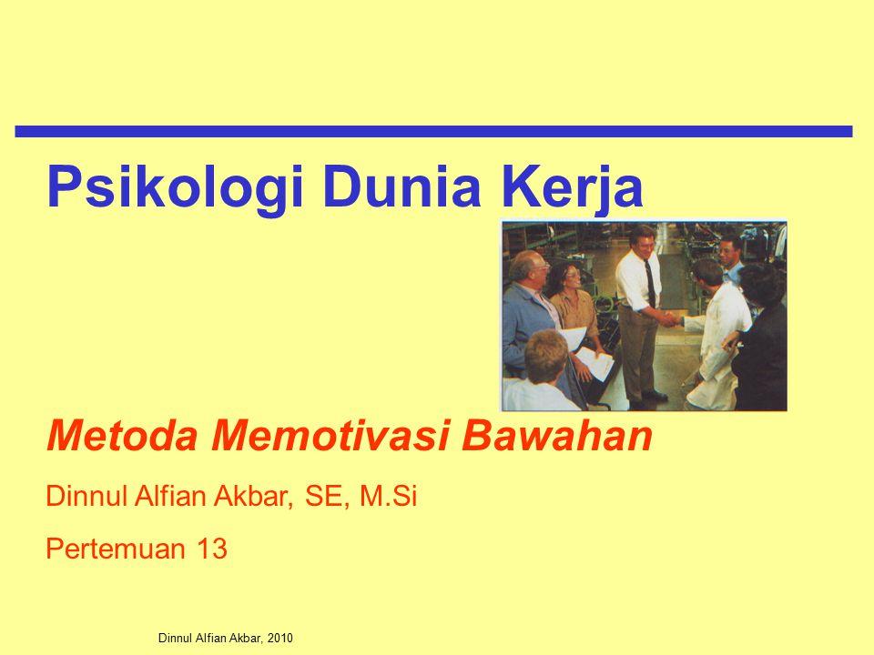 Dinnul Alfian Akbar, 2010 Metoda Memotivasi Bawahan Dinnul Alfian Akbar, SE, M.Si Pertemuan 13 Psikologi Dunia Kerja