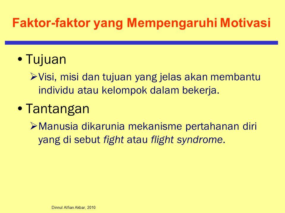 Dinnul Alfian Akbar, 2010 Faktor-faktor yang Mempengaruhi Motivasi Tujuan  Visi, misi dan tujuan yang jelas akan membantu individu atau kelompok dalam bekerja.