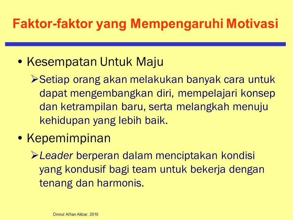 Dinnul Alfian Akbar, 2010 Faktor-faktor yang Mempengaruhi Motivasi Kesempatan Untuk Maju  Setiap orang akan melakukan banyak cara untuk dapat mengembangkan diri, mempelajari konsep dan ketrampilan baru, serta melangkah menuju kehidupan yang lebih baik.