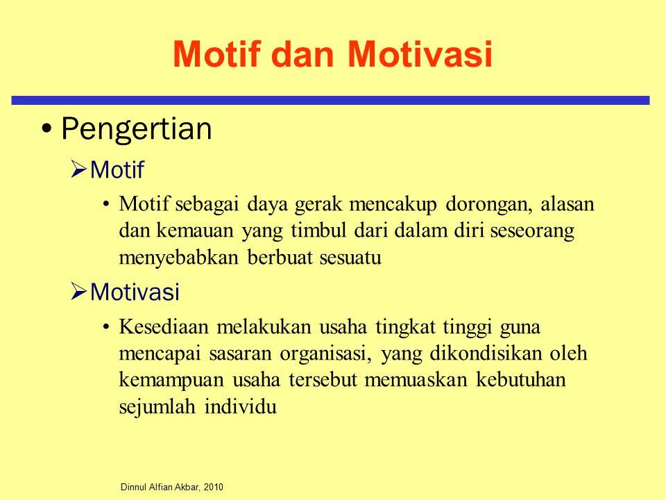 Dinnul Alfian Akbar, 2010 Motif dan Motivasi Pengertian  Motif Motif sebagai daya gerak mencakup dorongan, alasan dan kemauan yang timbul dari dalam diri seseorang menyebabkan berbuat sesuatu  Motivasi Kesediaan melakukan usaha tingkat tinggi guna mencapai sasaran organisasi, yang dikondisikan oleh kemampuan usaha tersebut memuaskan kebutuhan sejumlah individu