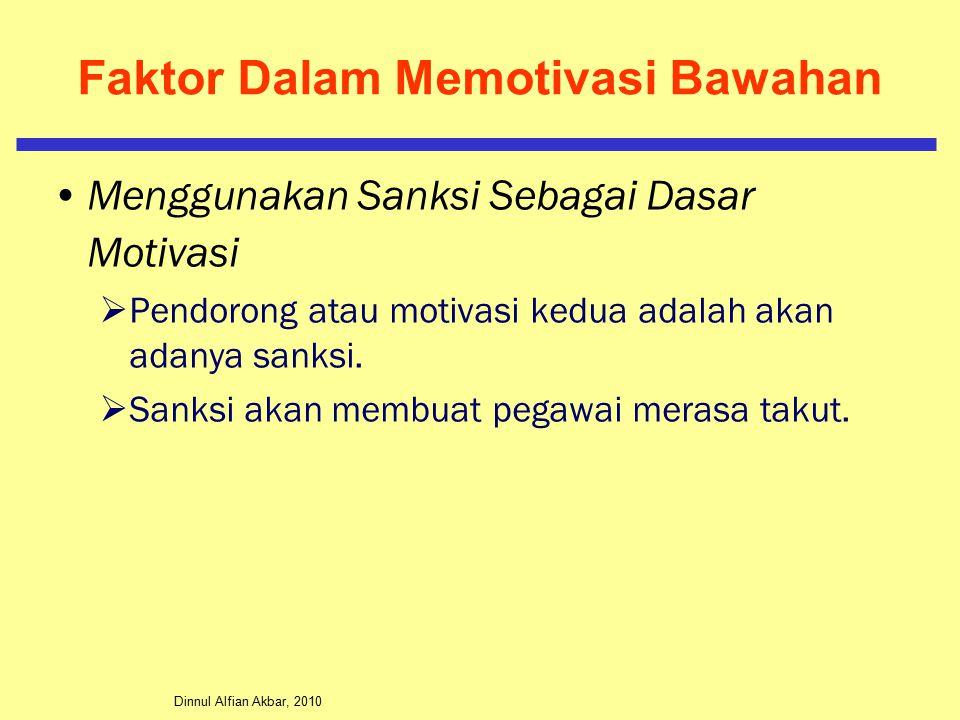 Dinnul Alfian Akbar, 2010 Faktor Dalam Memotivasi Bawahan Menggunakan Sanksi Sebagai Dasar Motivasi  Pendorong atau motivasi kedua adalah akan adanya sanksi.