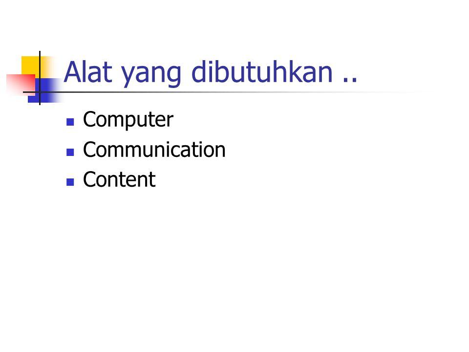 Alat yang dibutuhkan.. Computer Communication Content