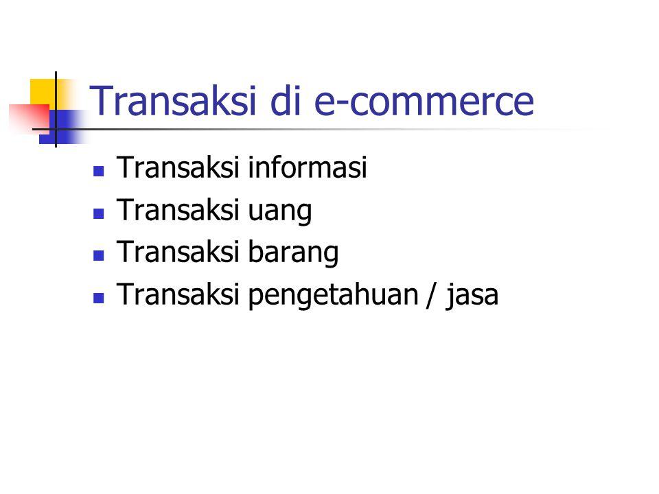 Transaksi di e-commerce Transaksi informasi Transaksi uang Transaksi barang Transaksi pengetahuan / jasa
