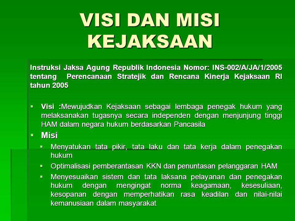 VISI DAN MISI KEJAKSAAN Instruksi Jaksa Agung Republik Indonesia Nomor: INS-002/A/JA/1/2005 tentang Perencanaan Stratejik dan Rencana Kinerja Kejaksaa