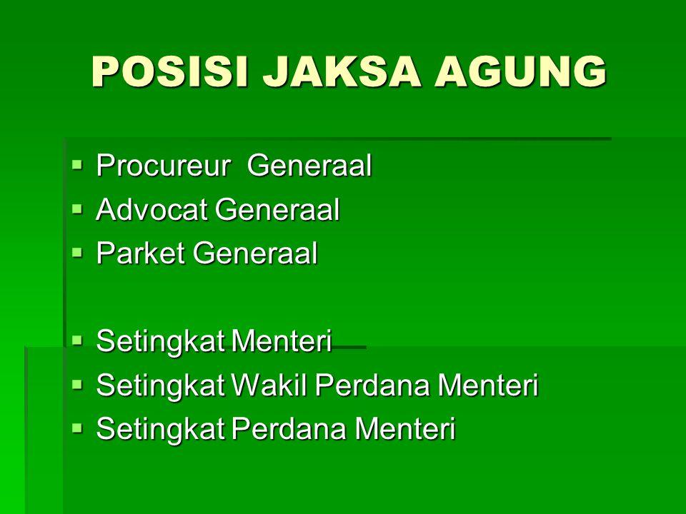 POSISI JAKSA AGUNG  Procureur Generaal  Advocat Generaal  Parket Generaal  Setingkat Menteri  Setingkat Wakil Perdana Menteri  Setingkat Perdana