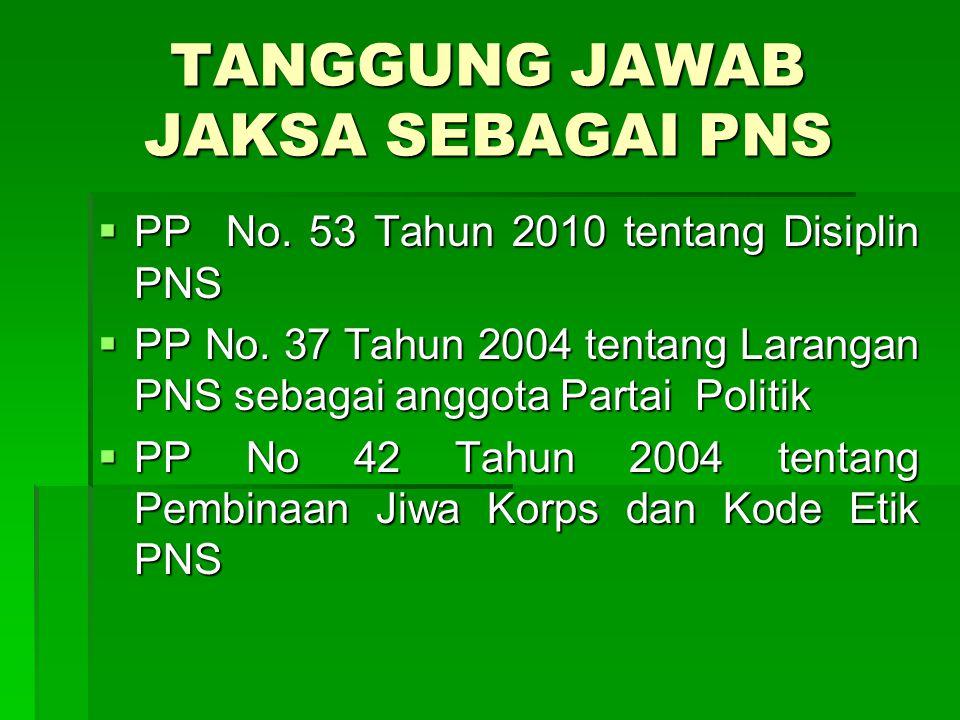 TANGGUNG JAWAB JAKSA SEBAGAI PNS  PP No. 53 Tahun 2010 tentang Disiplin PNS  PP No. 37 Tahun 2004 tentang Larangan PNS sebagai anggota Partai Politi