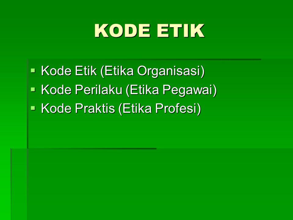 KODE ETIK  Kode Etik (Etika Organisasi)  Kode Perilaku (Etika Pegawai)  Kode Praktis (Etika Profesi)