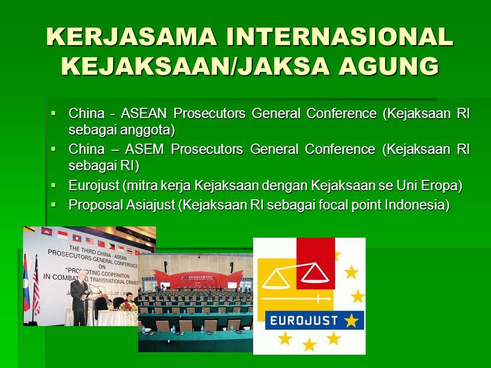 KERJASAMA INTERNASIONAL KEJAKSAAN/JAKSA AGUNG  China - ASEAN Prosecutors General Conference (Kejaksaan RI sebagai anggota)  China – ASEM Prosecutors